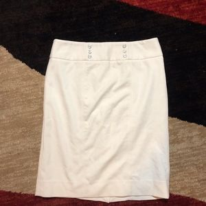 WHBM EUC White Button Pencil Skirt